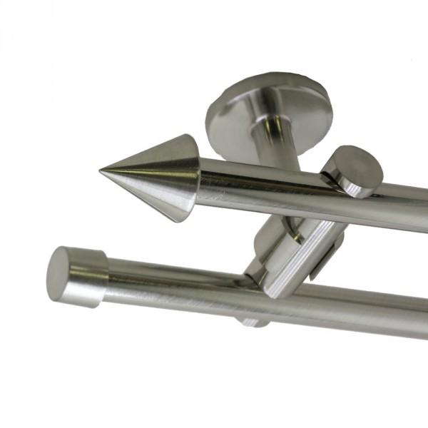 Edelstahl Gardinenstange, Deckenbefestigung, mit Endspitze, 16 mm, zweiläufig
