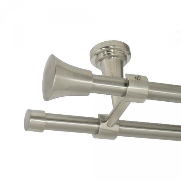 Edelstahl Gardinenstange, Deckenbefestigung, mit Endstück Knauf, 16 mm, zweiläufig