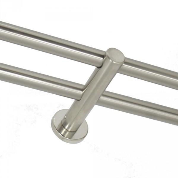 Gardinenstangen Halter, zweiläufig, für 16 mm Rohre.