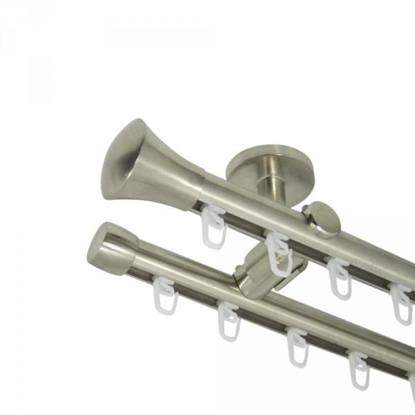 Innenlauf Gardinenstange 20 mm, mit Endstück Knauf, zweiläufig, Deckenbefestigung