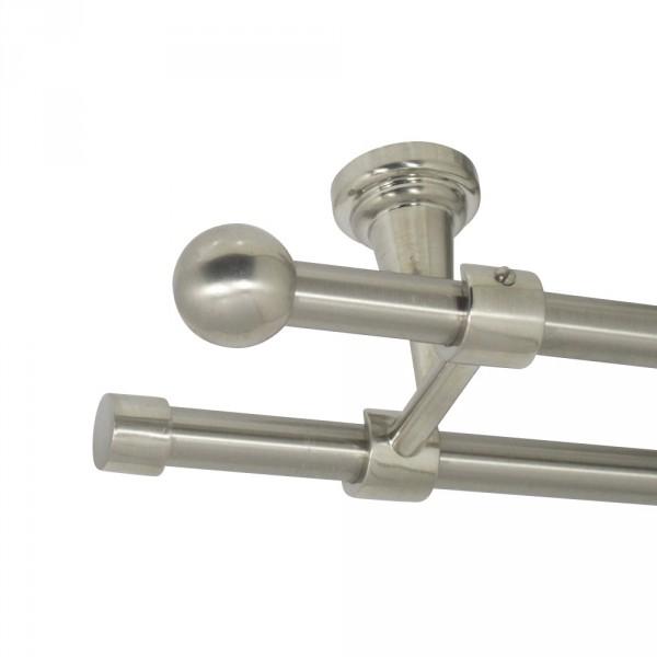 Edelstahl Gardinenstange, Deckenbefestigung, mit Endkugel, 16 mm, zweiläufig