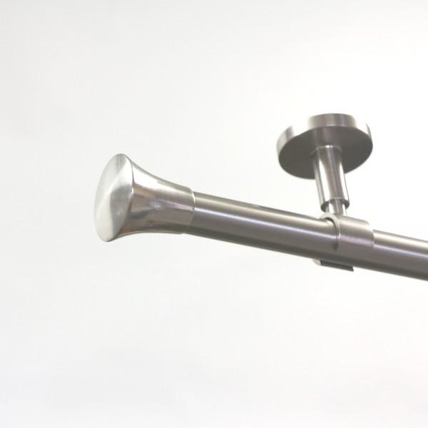 Edelstahl Gardinenstange 20 mm, mit Endstück Knauf, einläufig, Deckenbefestigung