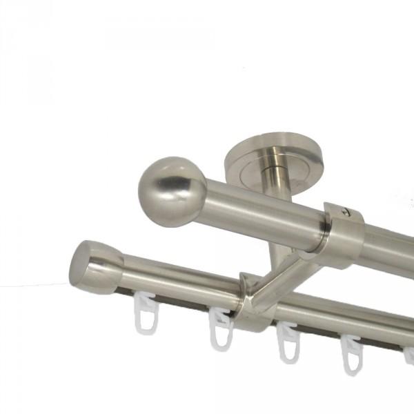Edelstahl Gardinenstange 20 mm, mit Endkugel, zweiläufig, Deckenbefestigung