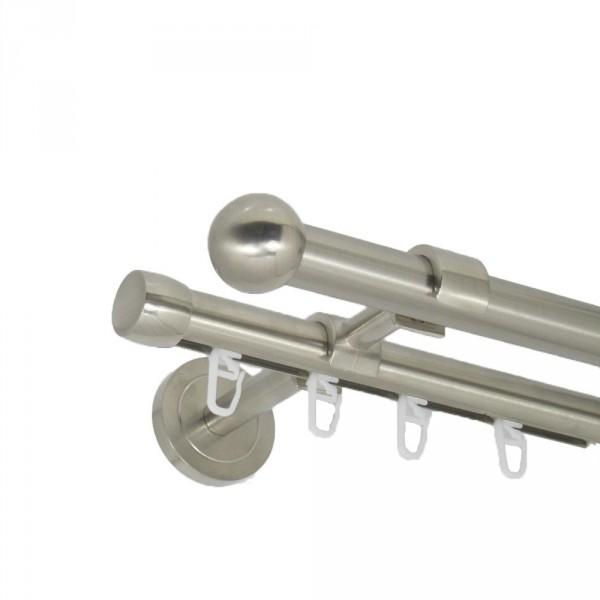 Edelstahl Gardinenstange Kugel 20mm zweiläufig