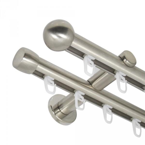 Innenlauf Gardinenstange 20 mm mit Endkugel zweiläufig