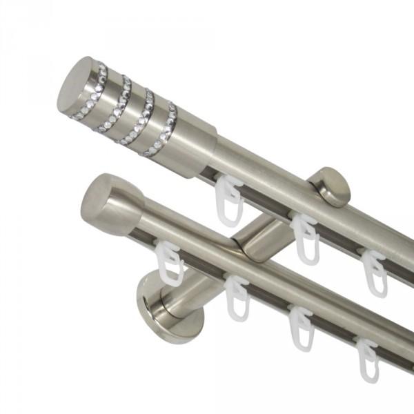 Innenlauf Gardinenstange 20 mm mit Endstück Kristall zweiläufig