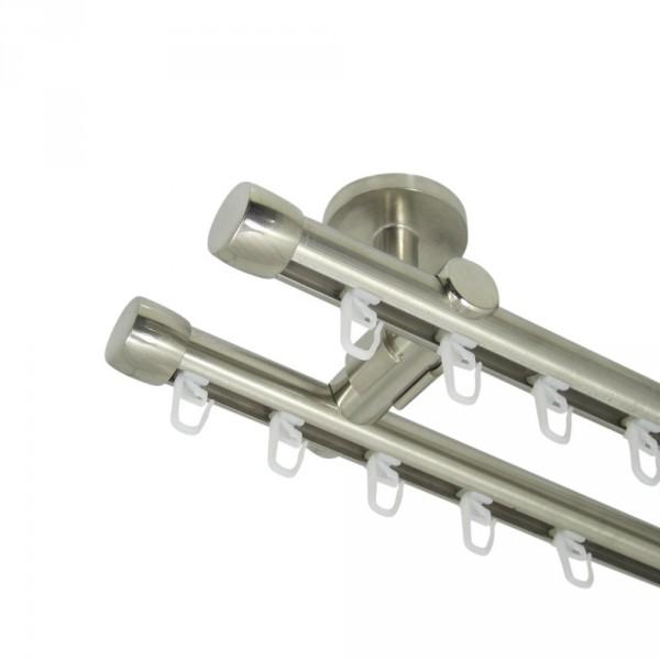 Innenlauf Gardinenstange 20 mm, mit Endkappen, zweiläufig, Deckenbefestigung